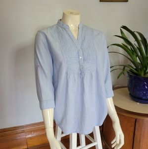 Covington striped blouse blue and white